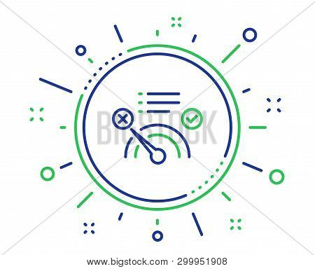 Reject bandwidth meter line icon. No internet sign. Speedometer symbol. Quality design elements. Technology no internet button. Editable stroke. Vector poster