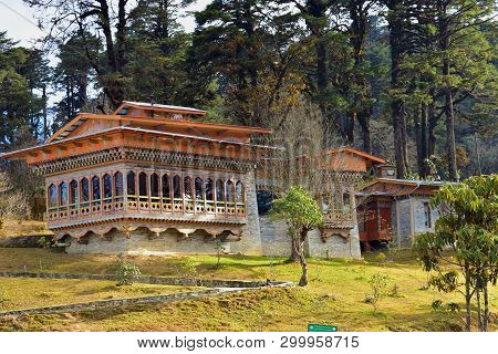 A Monastery Near The 108 Memorial Chortens Or Stupas Known As Druk Wangyal Chortens At The Dochula P