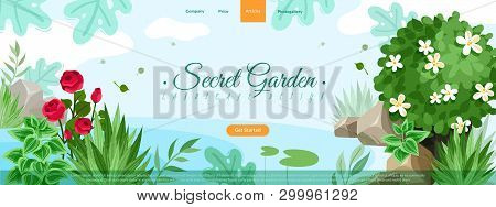 Garden Plants Site Header Illustration. Outdoor Garden Landscape Isolated Plants And Stones Composit