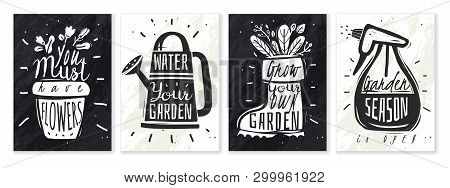 Garden Plants Chalk Posters Set. Set Of Four Vertical Posters Garden Slogans With Chalk On A Slate S