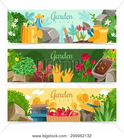 Garden Plants Horizontal Banners. Set Of Three Horizontal Banners On The Theme Of Gardening And Gard