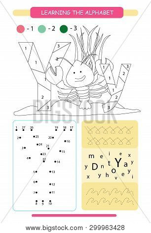 Letter Y And Funny Cartoon Yabby. Animals Alphabet A-z. Coloring Page. Printable Worksheet. Handwrit