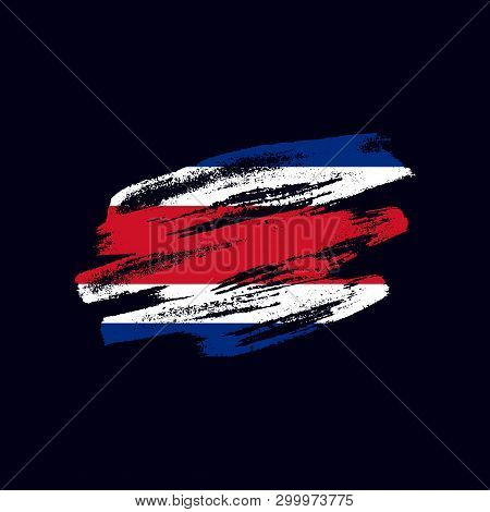 Grunge Textured Costa Rican Flag. Vector Brush Painted Flag Of Republic Of Costa Rica Isolated On Da