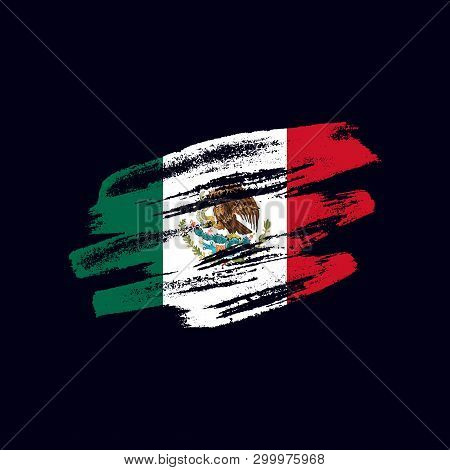 Grunge Textured Mexican Flag. Vector Brush Painted Flag Of United Mexican States Isolated On Dark Bl