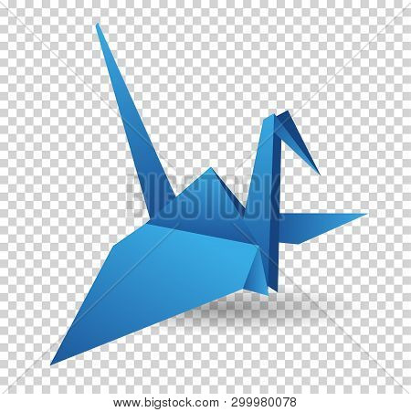 Origami Paper Bird. Vector Illustration. Polygonal Shape. Art Of Paper Folding. Japan Origami Crane,