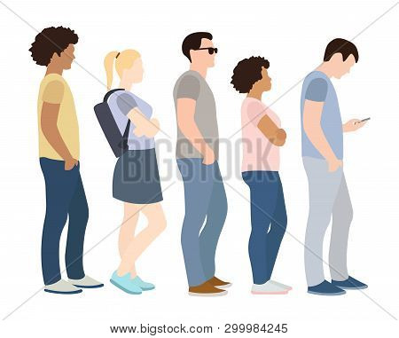 Full Length Of Cartoon People Standing Queue