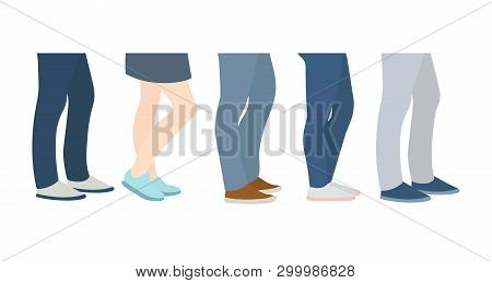 People Stand In Line. Queue, Waiting. Shoes On Feet. Vector Cartoon Flat Style Illustration Set Isol