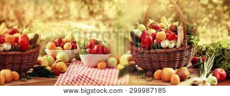 Organic Fruit And Vegetable, A Lot - Piles Of Various Fresh Fruits And Vegetables