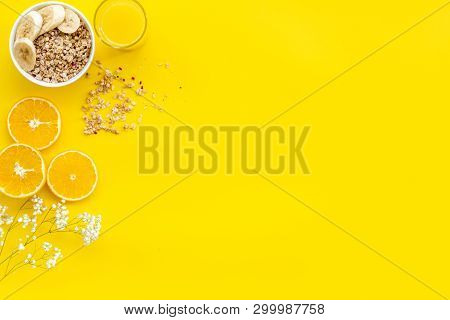 Bright Breakfast With Granola And Orange Juice On Yellow Background Top View Mockup