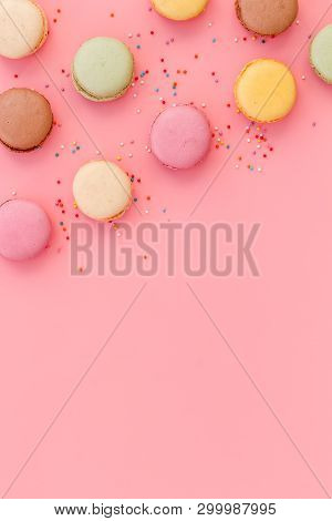 Macarons Dessert Pattern On Pink Background Top View Copy Space