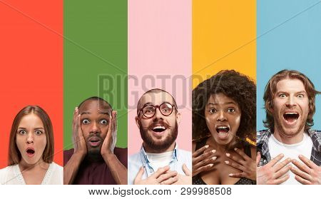 Young Attractive People Looking Astonished On Multicolored Backgrounds. Young Emotional Surprised Me