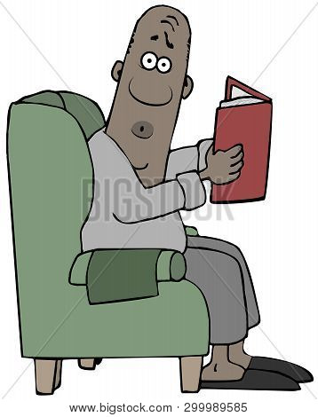 Illustration Of A Startled Black Man Sitting In A Chair And Reading From An Open Book.