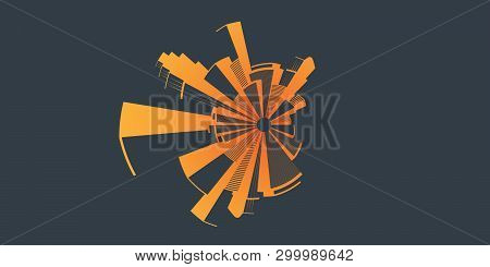 Abstrat Retro Style Cityscape Concept - Background Vector