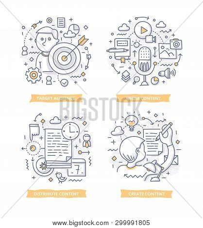 Doodle Illustrations Of Creating And Distributing Valuable Relevant Content To Attract Target Audien