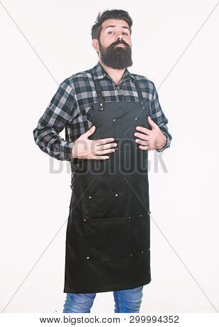 Work Addiction. Hipster Getting Ready For Work Routine In Barbershop Or Kitchen. Bearded Man Wearing