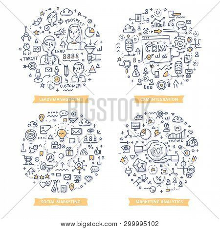 Doodle Vector Concepts Of Leads Management, Crm Integration, Marketing Analytics And Social Marketin
