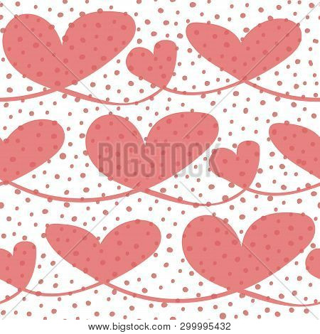 Happy Transparent Hand Drawn Hearts With Irregular Bubble Texture. Seamless Vector Pattern On White