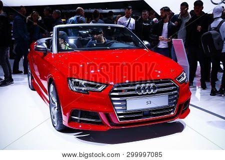 Geneva, Switzerland - March 10, 2019: Red Convertible Sportscar Audi S3 Presented At The Annual Gene