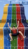 This illustrates the slippery slope of relying on credit cards to make your purchases. Here a man makes a frightening slide on rows of credit cards that look like a water slide in a waterpark. poster