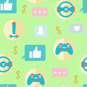 Gamer, Gaming Cartoon Vector Seamless Pattern. Gamepad, Joystick, Steering Wheel. Gaming Accessories and likes on Green Background. Decorative Texture. Cybersport Wallpaper, Wrapping Paper Design poster