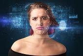 Biometric verification -  face and fingerprint detection concept poster