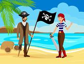 Treasure Hunters on Sea Shore Vector Illustration. Guy in Coat and Hat and Woman in Striped T shirt Cartoon Characters. Pirate Capitan with Black Flag and Corsair Holding Sword. Adventure Seekers poster