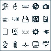 Hardware icons set with webcam, compact disk, plug and other computer ventilation elements. Isolated  illustration hardware icons. poster
