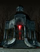 Gothic mausoleum tomb with a gravestone situated in the center of the interior space, 3d render poster