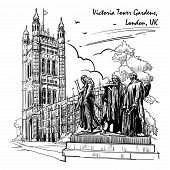 Citizens of Calais statue with the Victoria Tower and the Houses of Parliament behind. Westminster, London, UK. Engraving style sketch. Vintage design. Travel sketchbook drawing. EPS10 vector poster