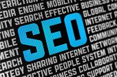 Digital poster with SEO text and words on social engine optimization theme. Selective focus on headline text. poster