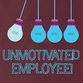 Conceptual hand writing showing Unmotivated Employee. Business photo text very low self esteem and no interest to work hard Color Pendant Bulb Hanging with One Different Shade Lightbulb. poster