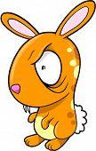 Crazy Orange  Bunny Rabbit Vector Illustration Art poster