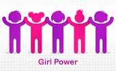 8 March women day international holiday, female solidarity concept, fight for rights tolerance and equality, feminism, girl power, group of protesting, vector illustration or icon. poster