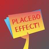 Conceptual hand writing showing Placebo Effect. Business photo text a beneficial effect produced by a placebo drug or treatment Hand Holding Blank Space Color File Folder with Sheet Inside. poster