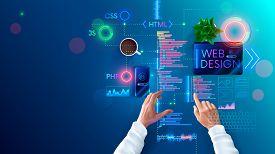 Web Design And Coding In Internet Page Development Languages. Designer Develops Site Layout In Progr