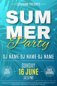 Flyer For Summer Party. Text Banner With Flying Luminous Lights. Blue Background With Pattern Of Pal