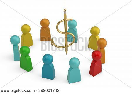 Abstract Character And Dollar Sign Fishhook Isolated On White Background. 3D Illustration