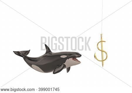 Killer Whale And Dollar Sign Fishhook Isolated On White Background. 3D Illustration
