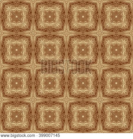Simple Art Work Design On Typical Java Batik With Smooth Mocca Color Concept.
