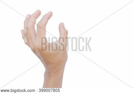 Hand Gestures Are Showing Grasping Or Holding Something On A White Background.