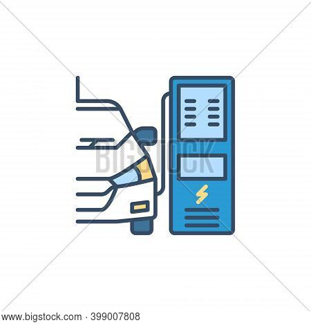 Electric Car Charging At Recharging Point Vector Concept Colored Icon Or Design Element