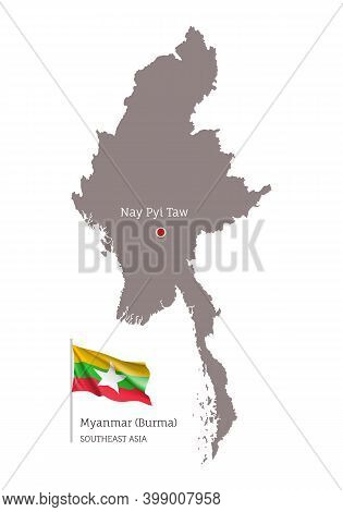 Silhouette Of Myanmar Country Map And National Flag. Highly Detailed Gray Map With Burma Capital, So