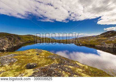Beautiful Arctic Summer Landscape On Barents Sea Shoreline.