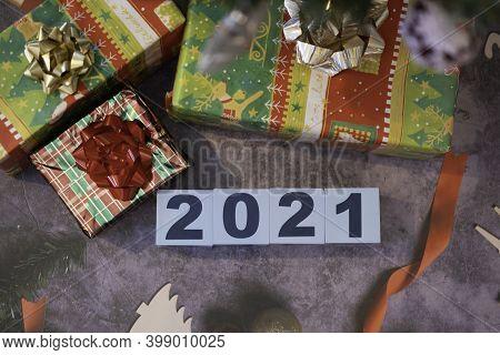 2021 Happy New Year Letter Blocks For Celebration