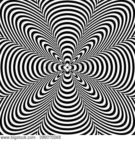 3d Illusion In Abstract Op Art Lines Pattern. Vector Illustration.