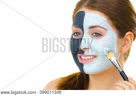Girl Black Mask On Half Face Apply White Mud