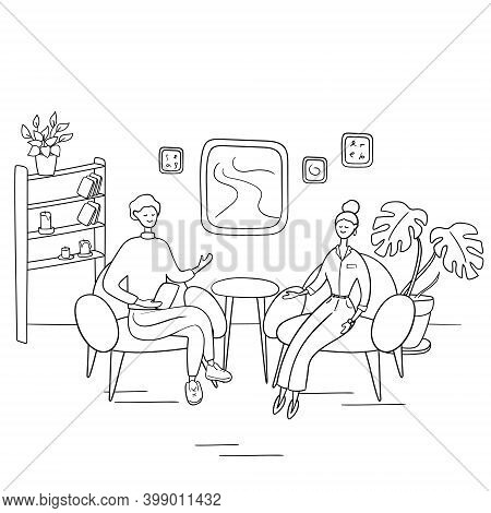 Interview Show. Interviewer Asks Young Woman Questions. Two People Sit On Chairs And Talk. Hand Draw