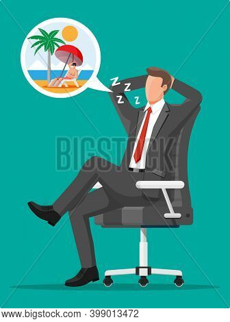 Business Man Character Dreaming About Vacation. Tired Businessman Or Office Worker Sleeping On Workp