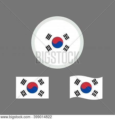 Vector Illustration Of South Korea Flag Sign Symbol. Republic Of Korea Flag Vector. South Korea Nati