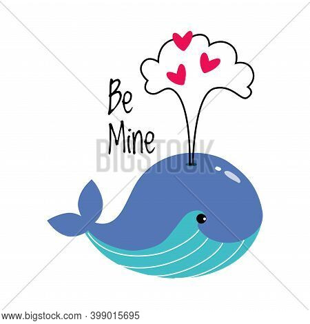 Blue Whale Spouting With Heart Shapes As Valentine Day Celebration Vector Illustration